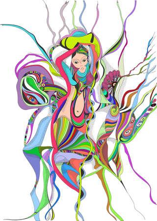 dibujo a mano de baile del baile del vientre surrealista. Diseño gráfico abstracto, se puede utilizar para las tarjetas de carteles, pegatinas, ilustraciones, como elemento decorativo.