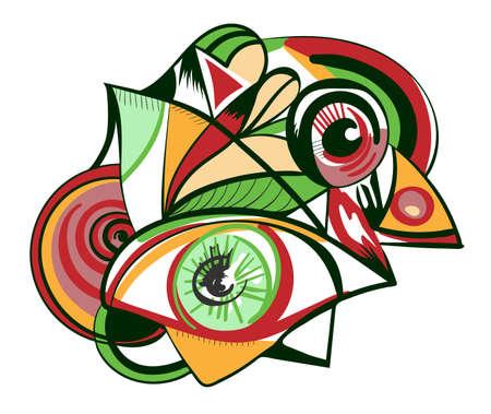 흰 배경에 고립 된 눈을 가진 디자인 요소. 추상적 인 예술의 스타일, Suprematism, 구성주의, 인쇄물, 포스터 및 표지에 적합합니다. 일러스트