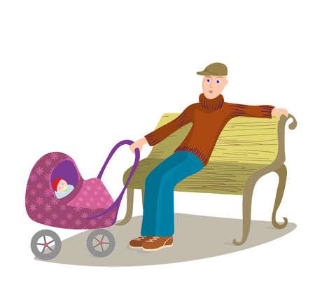 child sitting: Man with child in pram sitting on a park bench, cartoon illustration. Illustration