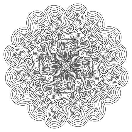 decorative lines: Decorative mandala with optical illusion lines. Outline drawing for your design, lace ornament in form of round pattern.