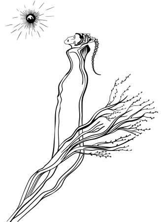 surrealistic: Futuristic woman on a white background. Surrealistic design, can use for posters cards, stickers, illustrations as decorative element.