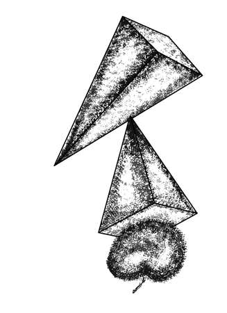cubismo: Pirámide en un fondo blanco. diseño abstracto en estilo del cubismo, se puede utilizar para las tarjetas de carteles, pegatinas, ilustraciones como elemento decorativo. Vectores