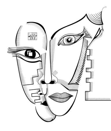 Hand drawing faces in cubism style