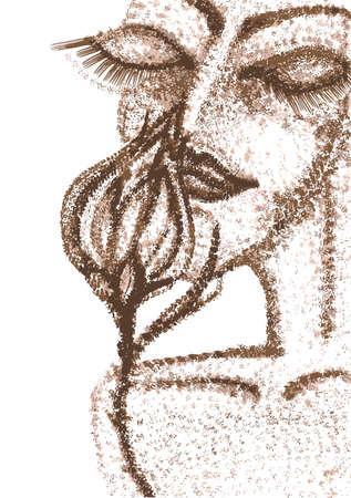 futuristic woman: Futuristic woman with flower illustration