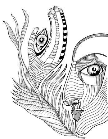 cara surrealista abstracto y de la mano con el tatuaje del mehndi. Ilustración de vector