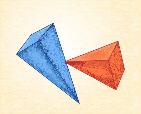 cubismo: Pir�mides en un fondo del lienzo. dise�o abstracto en estilo del cubismo, se puede utilizar para las tarjetas de carteles, pegatinas, ilustraciones como elemento decorativo.
