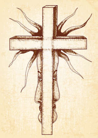 Gothic abstraction with cross on canvas background. Surreal graphics, can use for posters cards, stickers, illustrations, t-shirt art as decorative element.