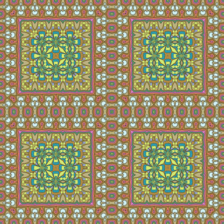 hanky: seamless bohemian ornament. Abstract geometric background. Template for the carpet, bedspreads, mosaics, shawls, tiles, wallpaper. Illustration