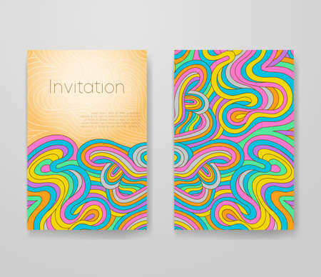 Business card with vivid lines pattern. Psychedelic frame template, invitation with place for your text. 矢量图像