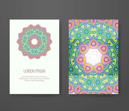 vintage theme: Mandala template, tribal vintage theme collection. Colorful ornamental ethnic booklet set. Islam, Arabic, Indian, turkish, pakistan, chinese, ottoman motifs Illustration