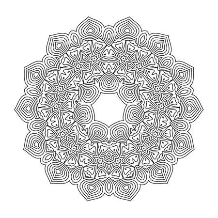 Monochrome mandala for coloring book. Vintage decorative elements, ethnic ornament for your design 矢量图像