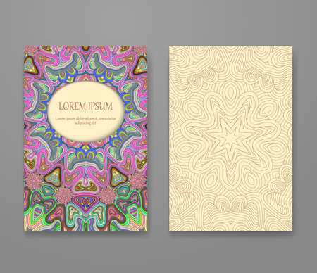 Colorful ornamental ethnic booklet set