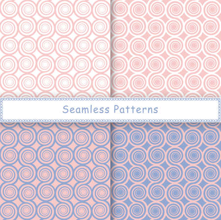 Set of seamless pattern with spiral shapes