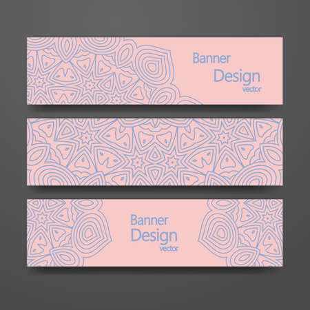 Set of banners with trendy colors rose quartz and serenity