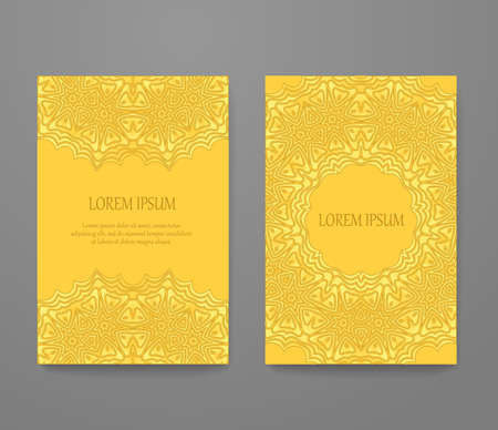Greeting card decorated with gold lace set. Headline template, romantic invitation collection, abstract elegant pattern design.