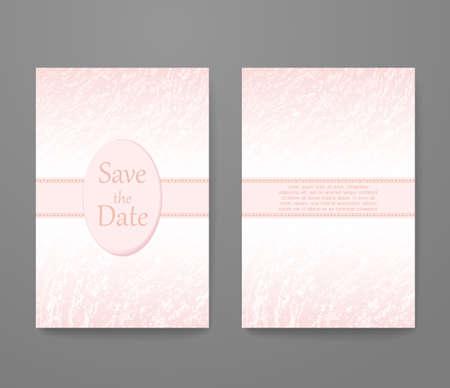 rose quartz: Business card with trendy color rose quartz. template set, invitation collection, abstract elegant pattern design. Illustration