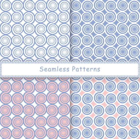 Set of seamless pattern with spiral shapes. Stylish graphic geometric backgrounds collections, line art. Rose quartz and serenity violet colors illustration.