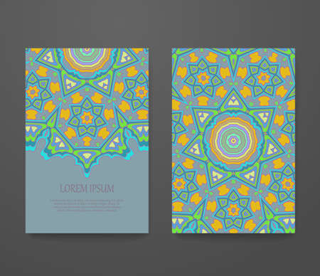 Colorful ornamental ethnic booklet set.