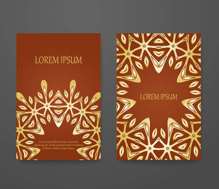 Set of vintage greeting cards. Headline template, romantic invitation collection, abstract elegant pattern design. 矢量图像