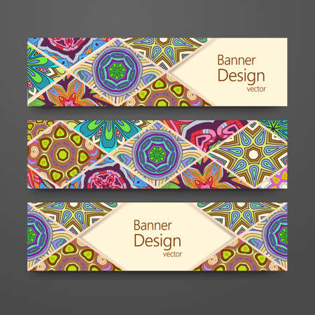 Colorful ornamental ethnic banner set. Headline template, abstract patchwork pattern design editable. 矢量图像