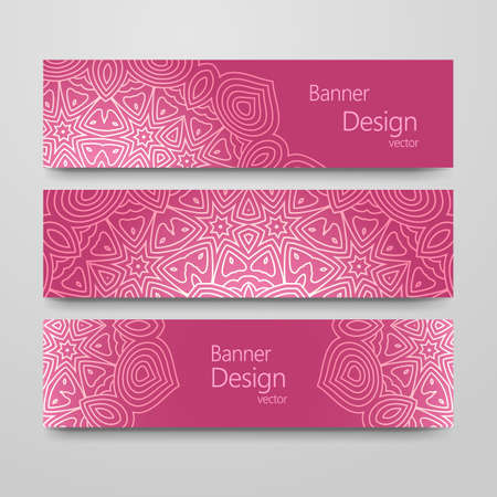 headline: Set of vintage banners with ethnic background. Headline template, romantic collection, abstract elegant pattern design.