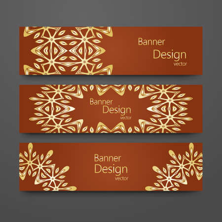 Set of vintage banners with golden background. Headline template, romantic collection, abstract elegant pattern design. 矢量图像