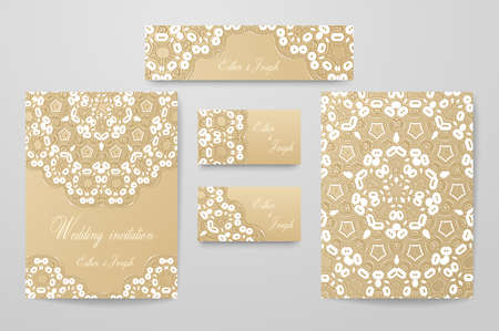 Gold wedding identity template design collection with abstract pattern. Vintage set decorated with white lace. 矢量图像