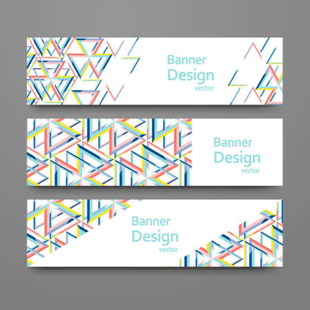 Set of abstract geometric banners. templates with place for your text. Creative modern design with triangle pattern.