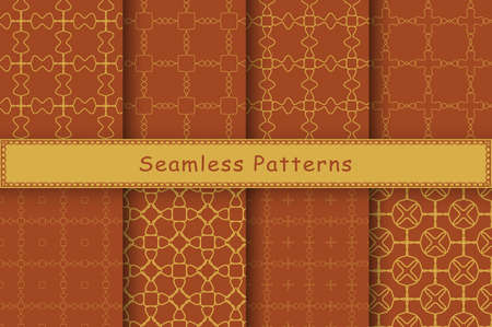 Set of 8 seamless patterns in ethnic style. Autumn geometric ornament. Decorative and design elements for textile, book covers, manufacturing, wallpapers, print, gift wrap.