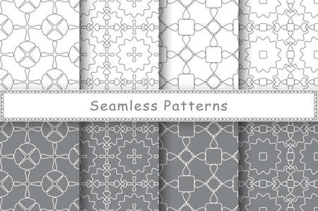 Set of 8 seamless patterns in ethnic style. Monochrome geometric ornament. Decorative and design elements for textile, book covers, manufacturing, wallpapers, print, gift wrap. 矢量图像