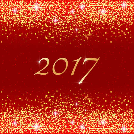 Happy New Year 2017. Vector holiday template with sparkles on red background. Gold glitter frame for greeting cards, vip, exclusive, gift, luxury, voucher, shopping.