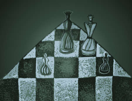 Chess pieces on a chessboard. Hand drawn vector illustration in abstract style. Dramatic light.