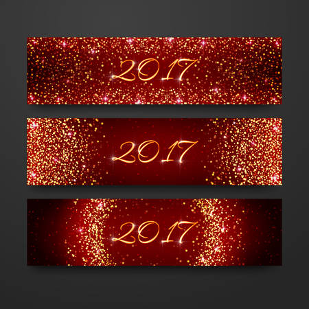 Happy New Year 2017 invitation design collection. Headline holiday template with sparkles on red background. Gold glitter banner set. 矢量图像