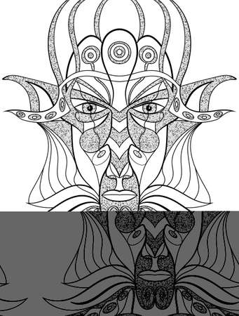shamanic: Portrait of a demon in abstract style. Sacred vector illustration. Mysterious, symbolic, shamanic, spiritual, esoteric, new age. Posters cards, stickers, t-shirt art.