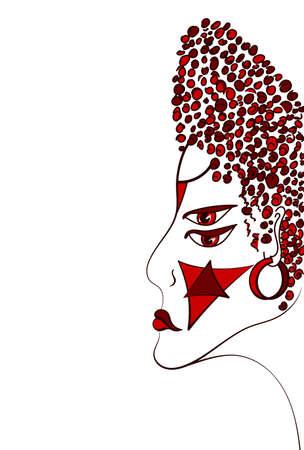 Retrato de una mujer. ilustración vectorial sagrado. Misteriosa, simbólica, chamánica, espiritual, esotérico, nueva edad. Carteles, tarjetas, pegatinas camiseta de arte.