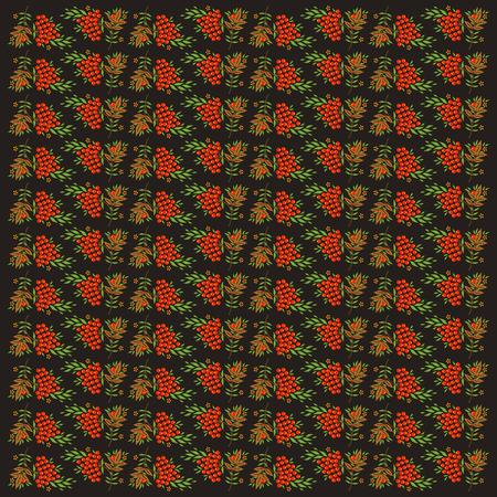 rowanberry: Decorative vector seamless background with elements of Khokhloma painting Illustration
