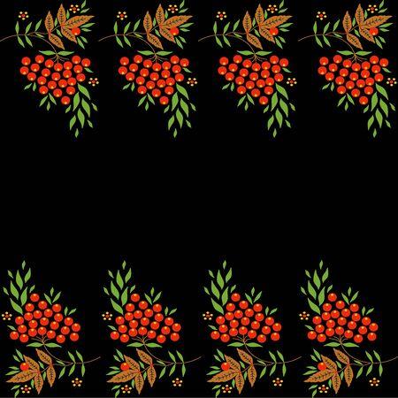 khokhloma: Decorative vector border with elements of Khokhloma painting Illustration