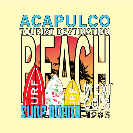 Acapulco beach mexico t shirt design vector Illustration