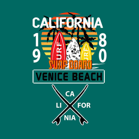 California surfing t-shirt graphic vector