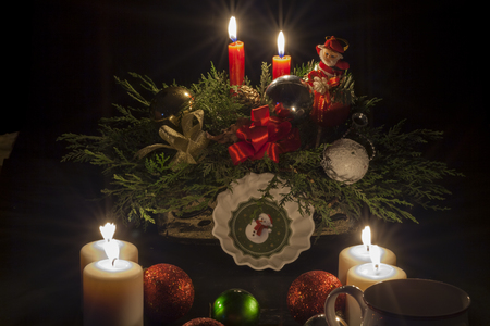 Set of Christmas decorations and Christmas spirit photo