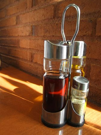 vinegar and olive oil in Barcelona restaurant. Beautiful tones and composition.
