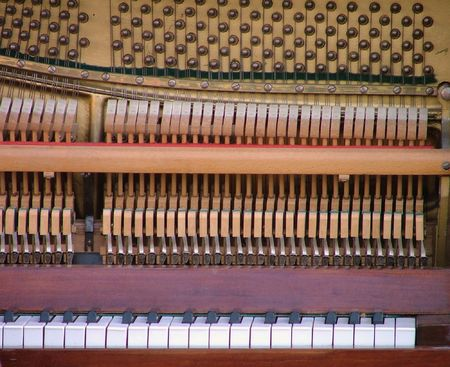 music macro. detail of a antique piano. Stock Photo
