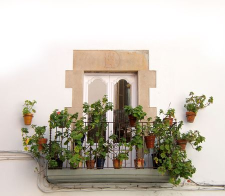 traditional architecture, detail of a terrace in Sitges Barcelona. Spain. Typical mediterranean