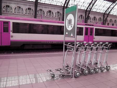 train station pink scene