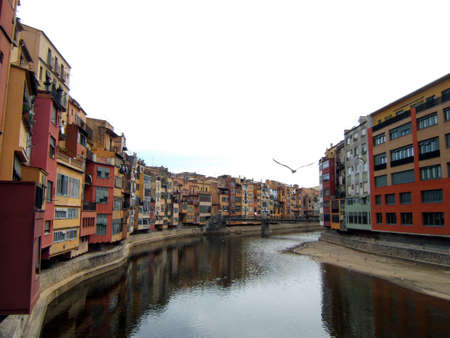 Girona typical architecture. Sides of the river