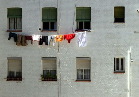 tenement: tended clothes in a tenement flats Stock Photo