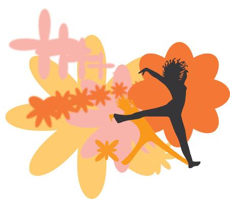 flower logo: jumping girl