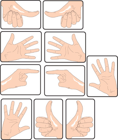 diverse hand signs in vector. Color as you wish
