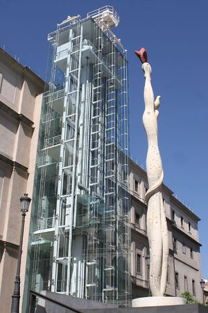 side view of museum reina sofia in Madrid with Miro statue