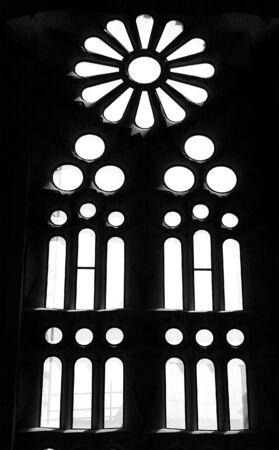 Beautiful church window from inside